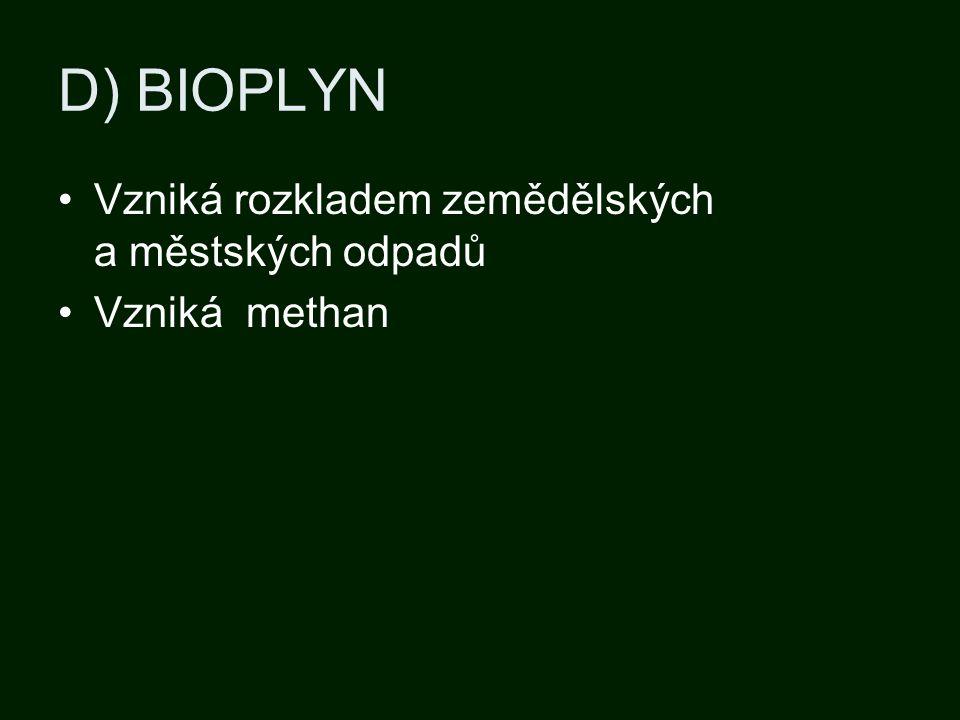 D) BIOPLYN Vzniká rozkladem zemědělských a městských odpadů Vzniká methan