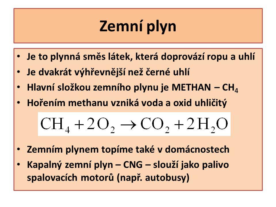 Zemní plyn Je to plynná směs látek, která doprovází ropu a uhlí Je dvakrát výhřevnější než černé uhlí Hlavní složkou zemního plynu je METHAN – CH 4 Hořením methanu vzniká voda a oxid uhličitý Zemním plynem topíme také v domácnostech Kapalný zemní plyn – CNG – slouží jako palivo spalovacích motorů (např.