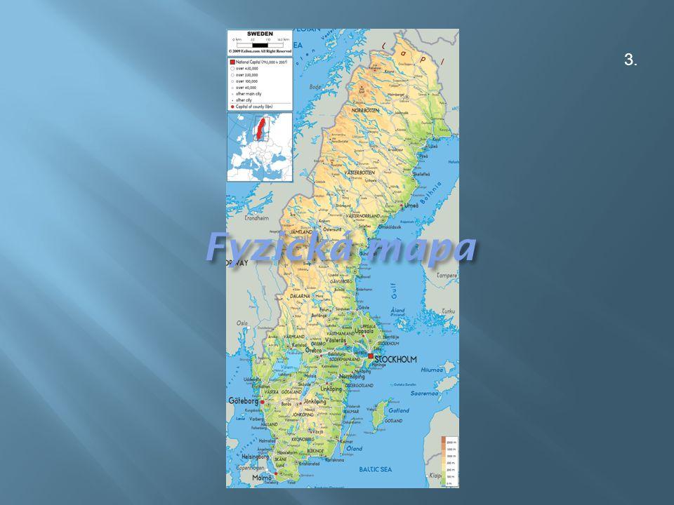  švédské řeky ústí většinou do Botnického zálivu (torne, Kalix, Lule, Skellefte, Ume, Indals, Ljusnan a Dal)  na horním toku každé z nich je přirozené nebo umělé jezero  jediná řeka Gota, vytéká z jezera Vanern, ústí do průlivu Kattegat  jezera tvoří přes 7 % plochy  největšími jsou Vanern, Vattern  pobřeží Baltu a Botnického zálivu je členité a skalnaté