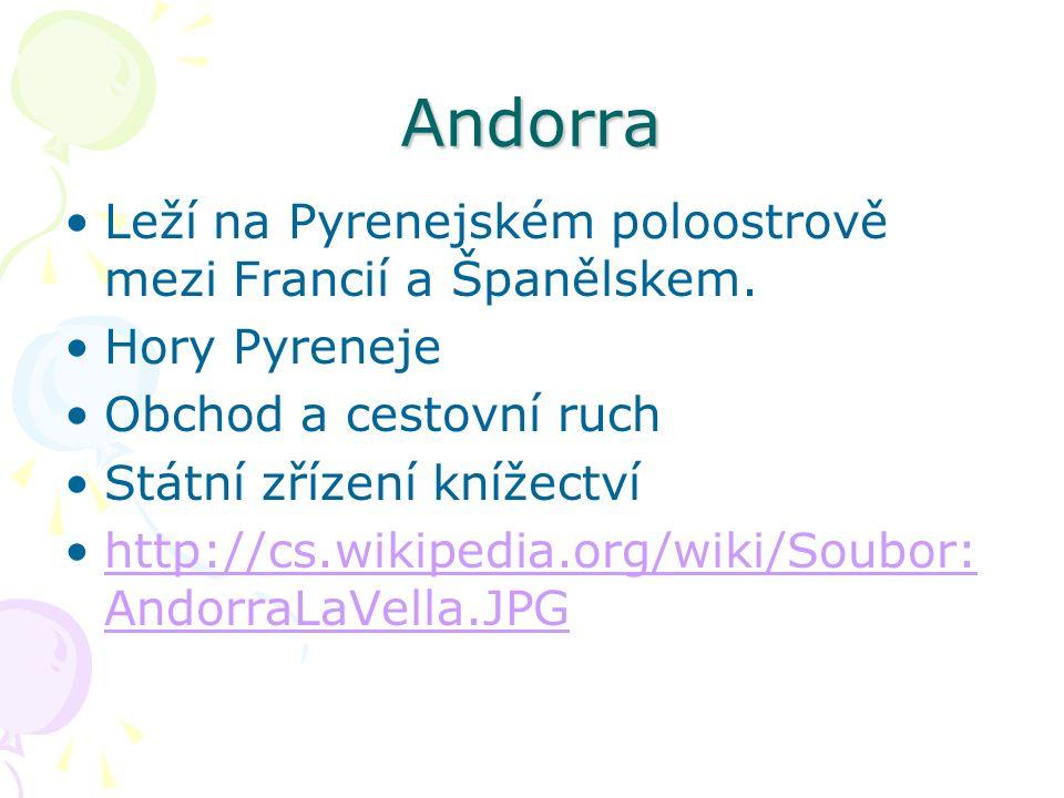 Andorra Leží na Pyrenejském poloostrově mezi Francií a Španělskem.