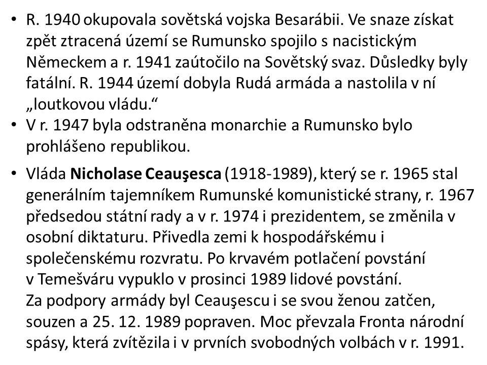 R. 1940 okupovala sovětská vojska Besarábii.