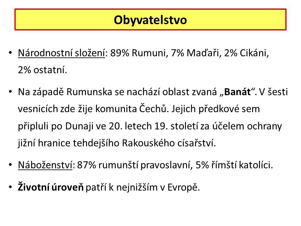Obyvatelstvo Národnostní složení: 89% Rumuni, 7% Maďaři, 2% Cikáni, 2% ostatní.