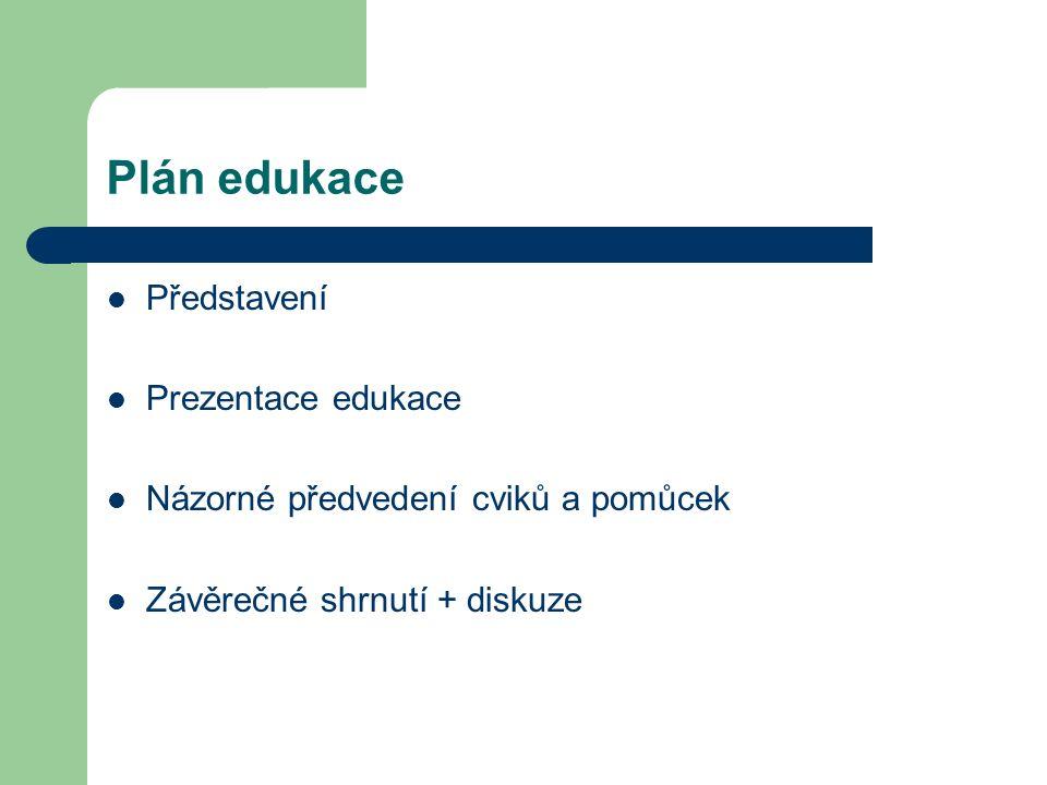 Plán edukace Představení Prezentace edukace Názorné předvedení cviků a pomůcek Závěrečné shrnutí + diskuze