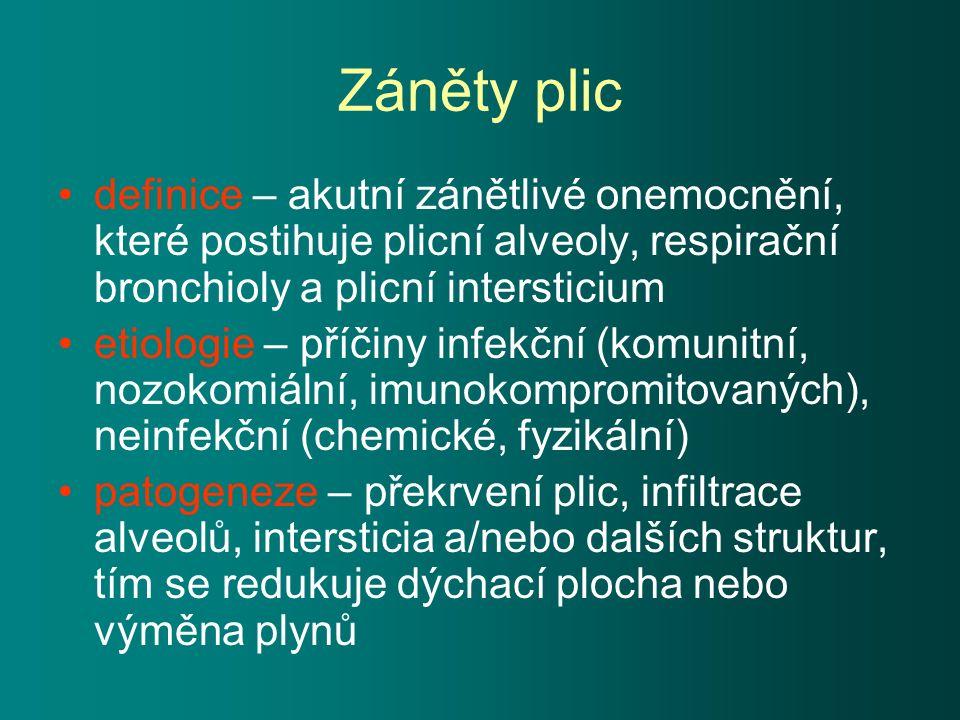 Záněty plic definice – akutní zánětlivé onemocnění, které postihuje plicní alveoly, respirační bronchioly a plicní intersticium etiologie – příčiny infekční (komunitní, nozokomiální, imunokompromitovaných), neinfekční (chemické, fyzikální) patogeneze – překrvení plic, infiltrace alveolů, intersticia a/nebo dalších struktur, tím se redukuje dýchací plocha nebo výměna plynů