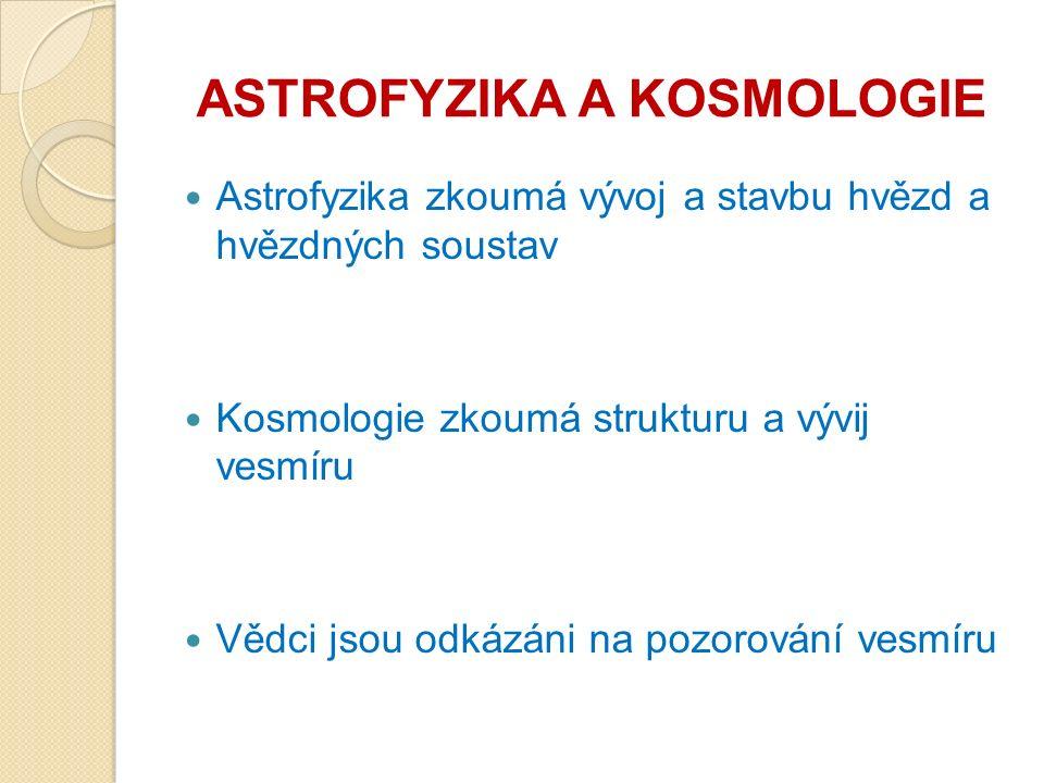 ASTROFYZIKA A KOSMOLOGIE Astrofyzika zkoumá vývoj a stavbu hvězd a hvězdných soustav Kosmologie zkoumá strukturu a vývij vesmíru Vědci jsou odkázáni na pozorování vesmíru