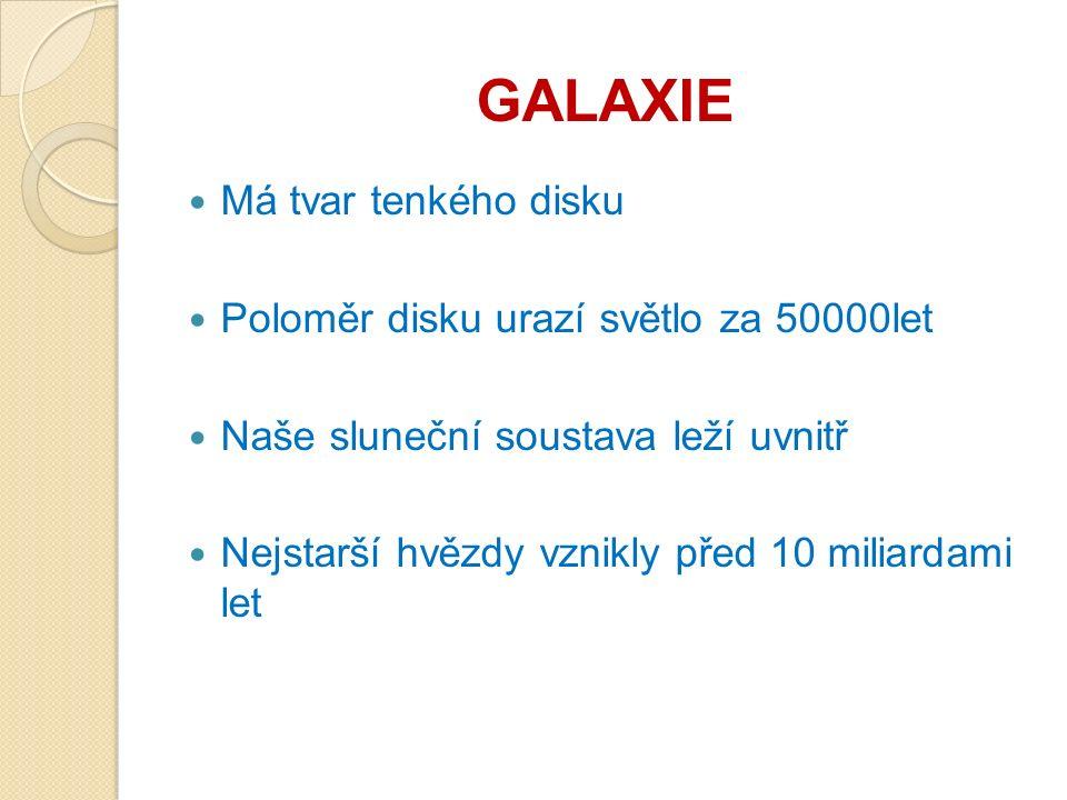 GALAXIE Má tvar tenkého disku Poloměr disku urazí světlo za 50000let Naše sluneční soustava leží uvnitř Nejstarší hvězdy vznikly před 10 miliardami let