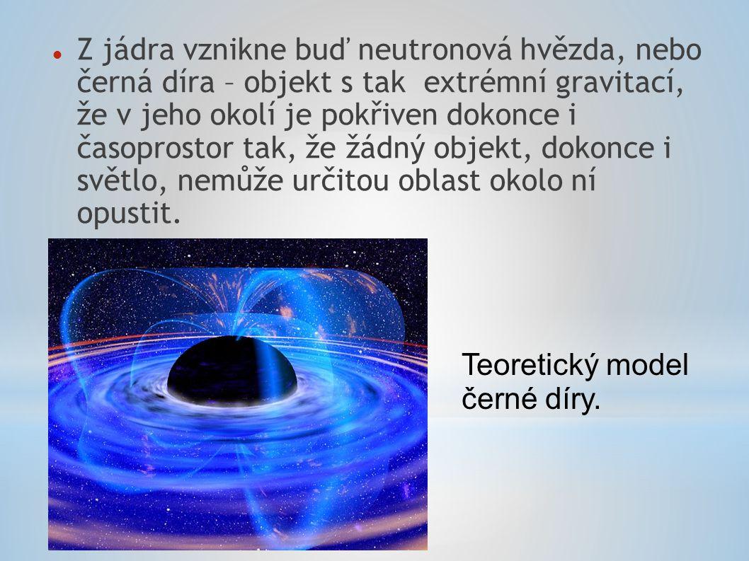 Z jádra vznikne buď neutronová hvězda, nebo černá díra – objekt s tak extrémní gravitací, že v jeho okolí je pokřiven dokonce i časoprostor tak, že žádný objekt, dokonce i světlo, nemůže určitou oblast okolo ní opustit.