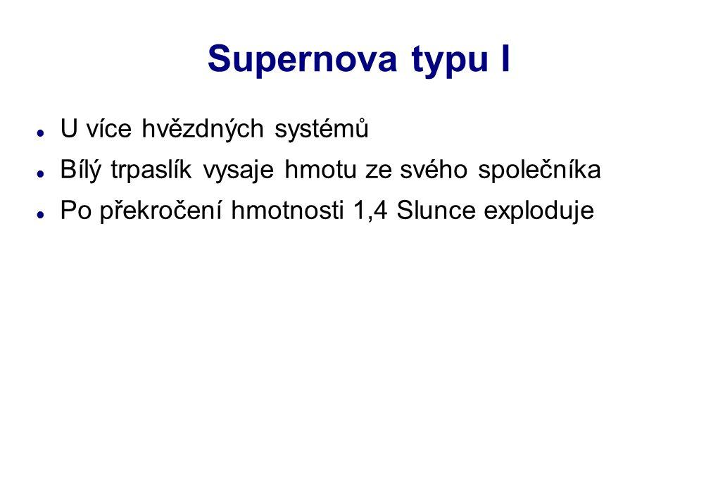 Supernova typu I U více hvězdných systémů Bílý trpaslík vysaje hmotu ze svého společníka Po překročení hmotnosti 1,4 Slunce exploduje