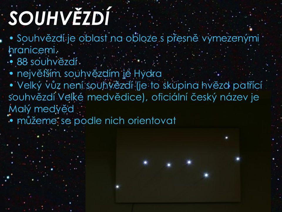 SOUHVĚZDÍ Souhvězdí je oblast na obloze s přesně vymezenými hranicemi.