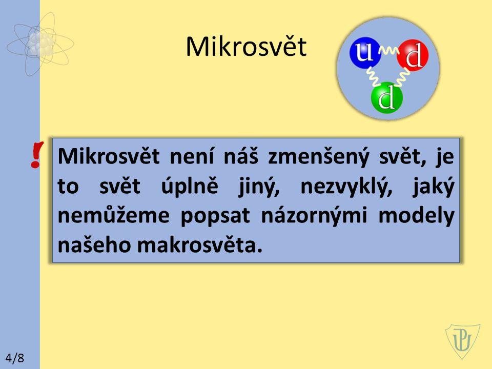 Mikrosvět 4/8 Mikrosvět není náš zmenšený svět, je to svět úplně jiný, nezvyklý, jaký nemůžeme popsat názornými modely našeho makrosvěta.
