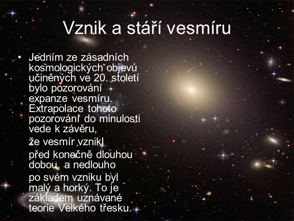 Vznik a stáří vesmíru Jedním ze zásadních kosmologických objevů učiněných ve 20.