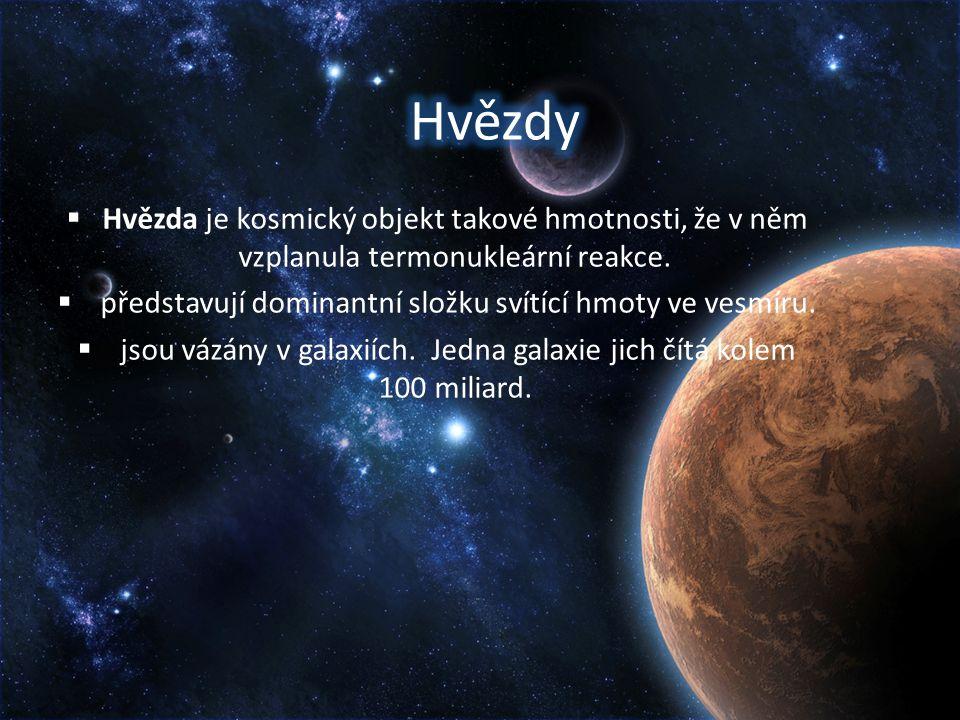  Hvězda je kosmický objekt takové hmotnosti, že v něm vzplanula termonukleární reakce.