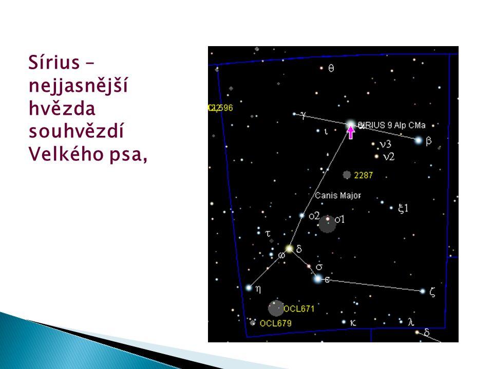 Sírius – nejjasnější hvězda souhvězdí Velkého psa,