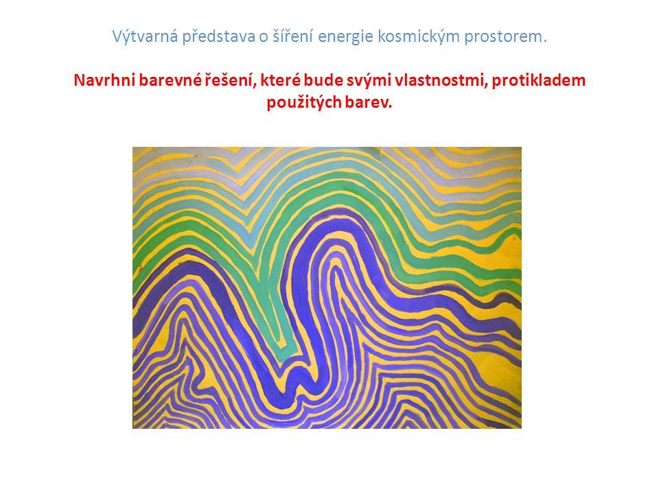 Výtvarná představa o šíření energie kosmickým prostorem.