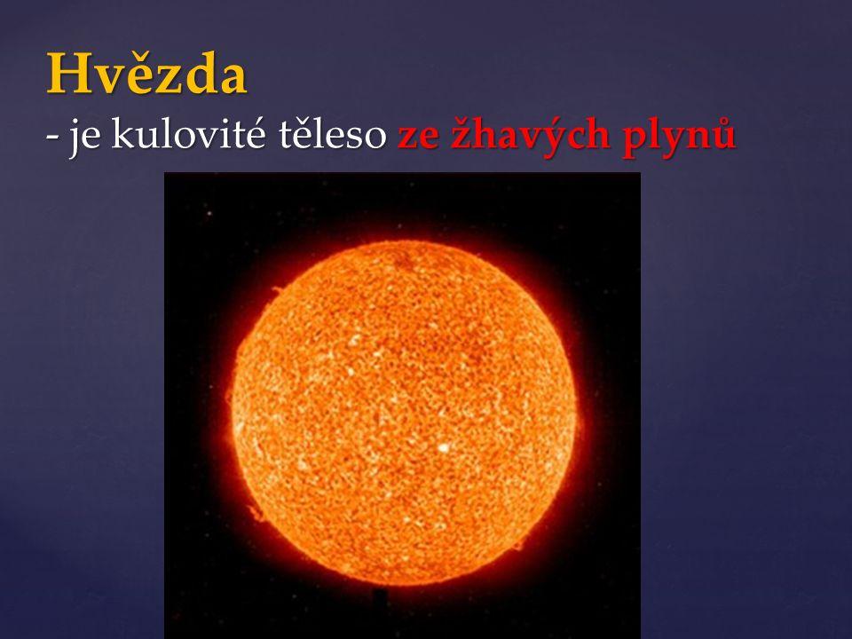 Hvězda - je kulovité těleso ze žhavých plynů
