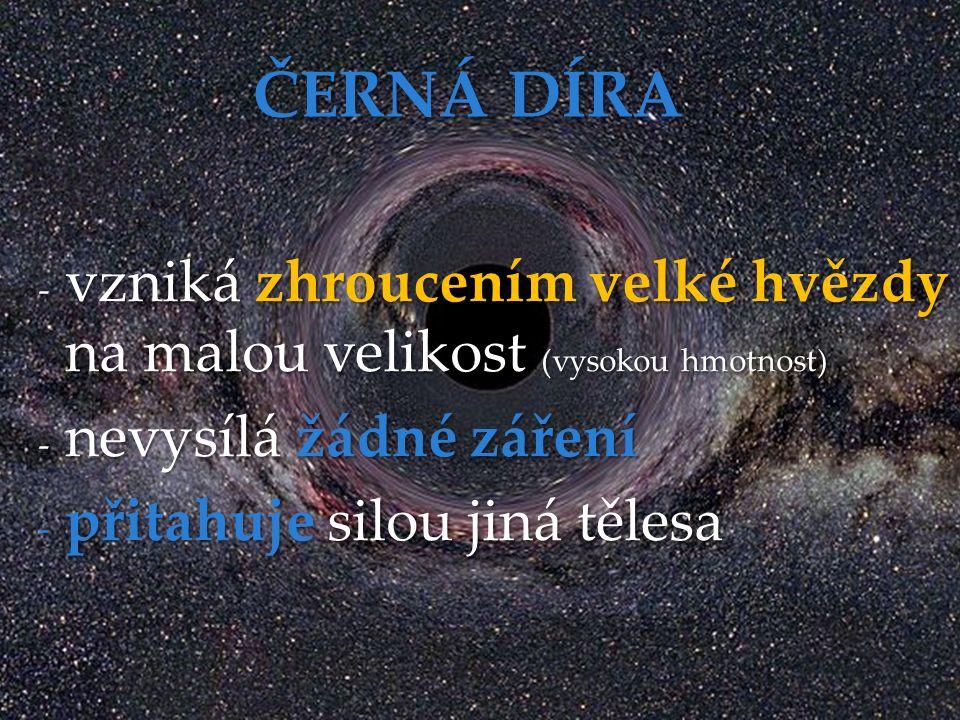 - vzniká zhroucením velké hvězdy na malou velikost (vysokou hmotnost) - nevysílá žádné záření - přitahuje silou jiná tělesa ČERNÁ DÍRA