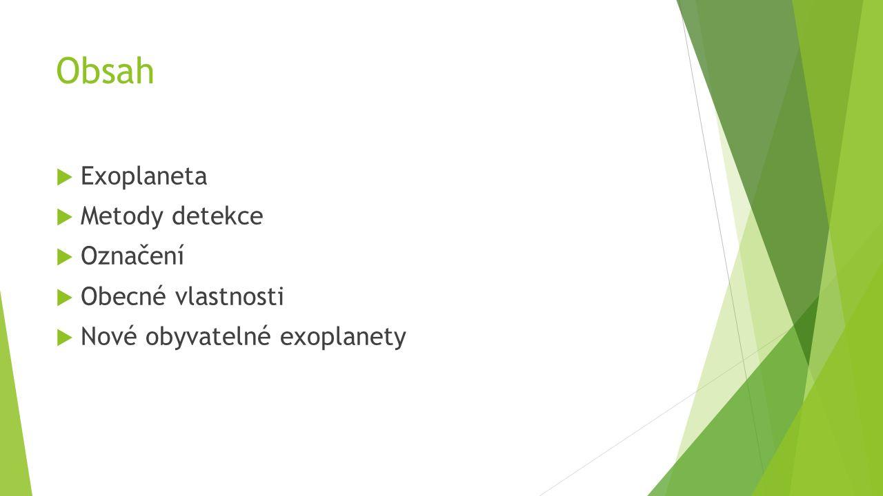 Obsah  Exoplaneta  Metody detekce  Označení  Obecné vlastnosti  Nové obyvatelné exoplanety