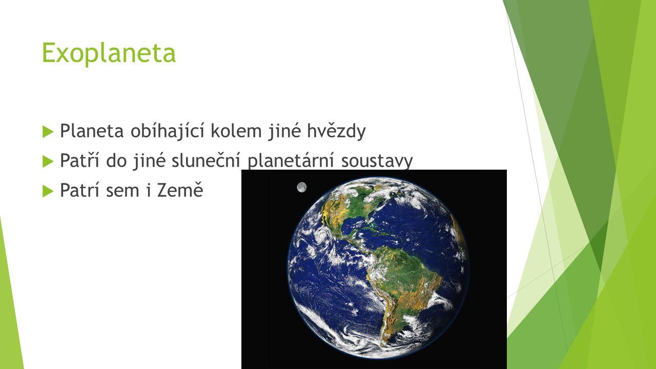 Exoplaneta  Planeta obíhající kolem jiné hvězdy  Patří do jiné sluneční planetární soustavy  Patrí sem i Země