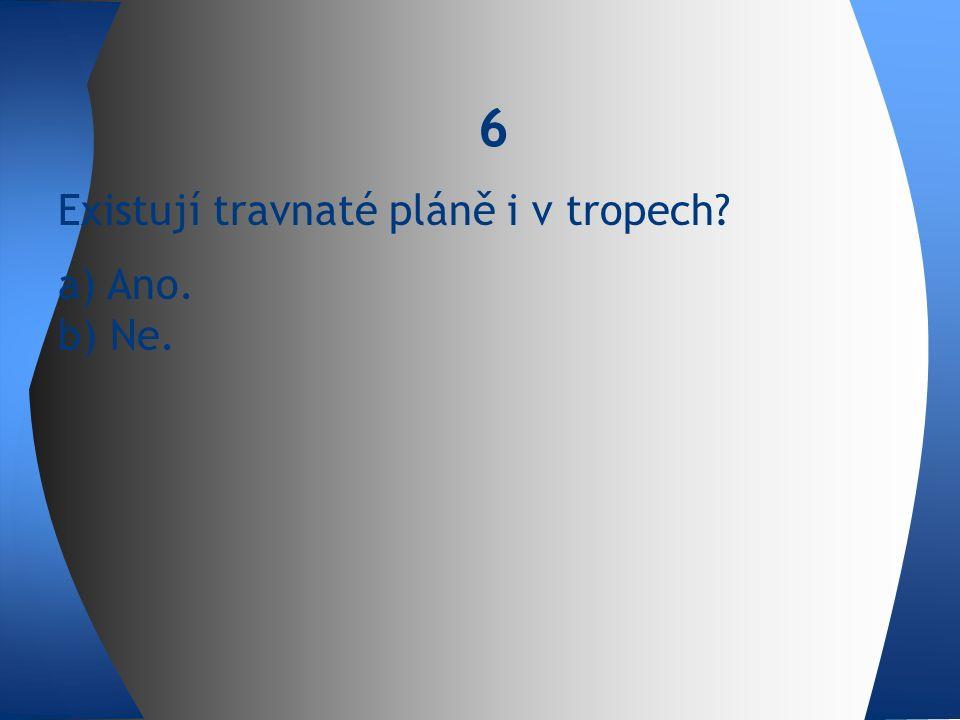 Existují travnaté pláně i v tropech a) Ano. b) Ne. 6