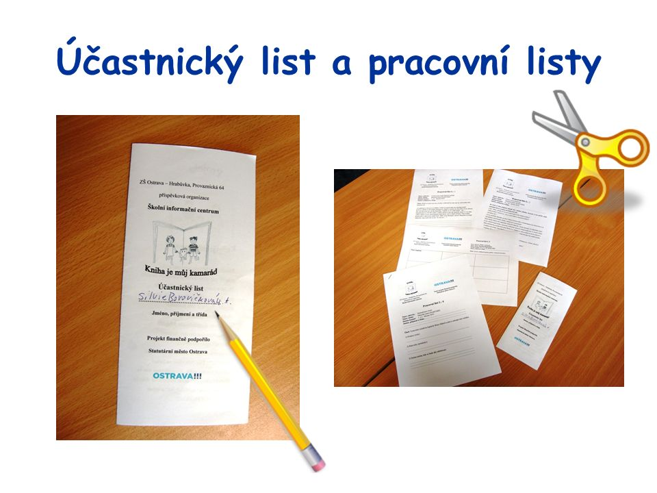 Účastnický list a pracovní listy