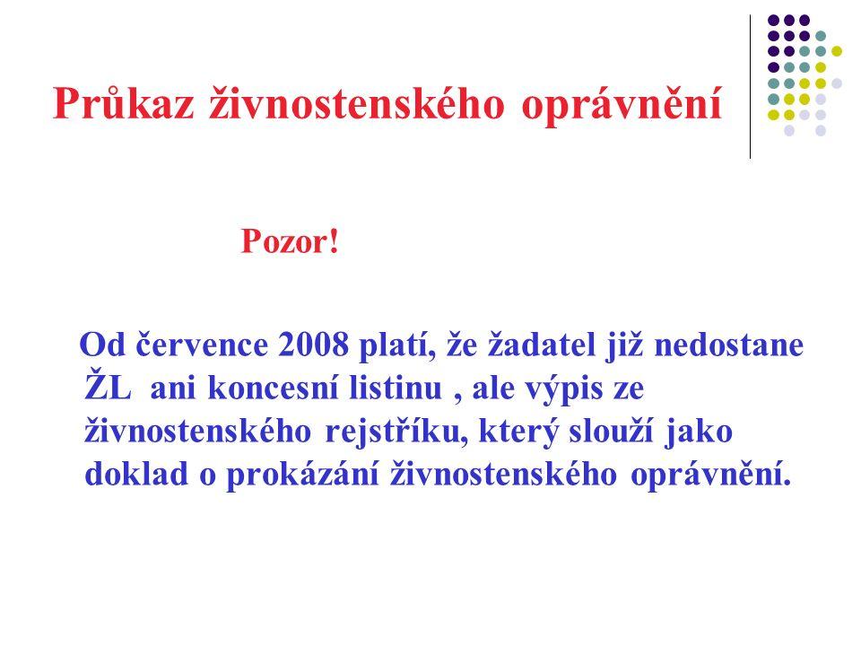 Průkaz živnostenského oprávnění Pozor.