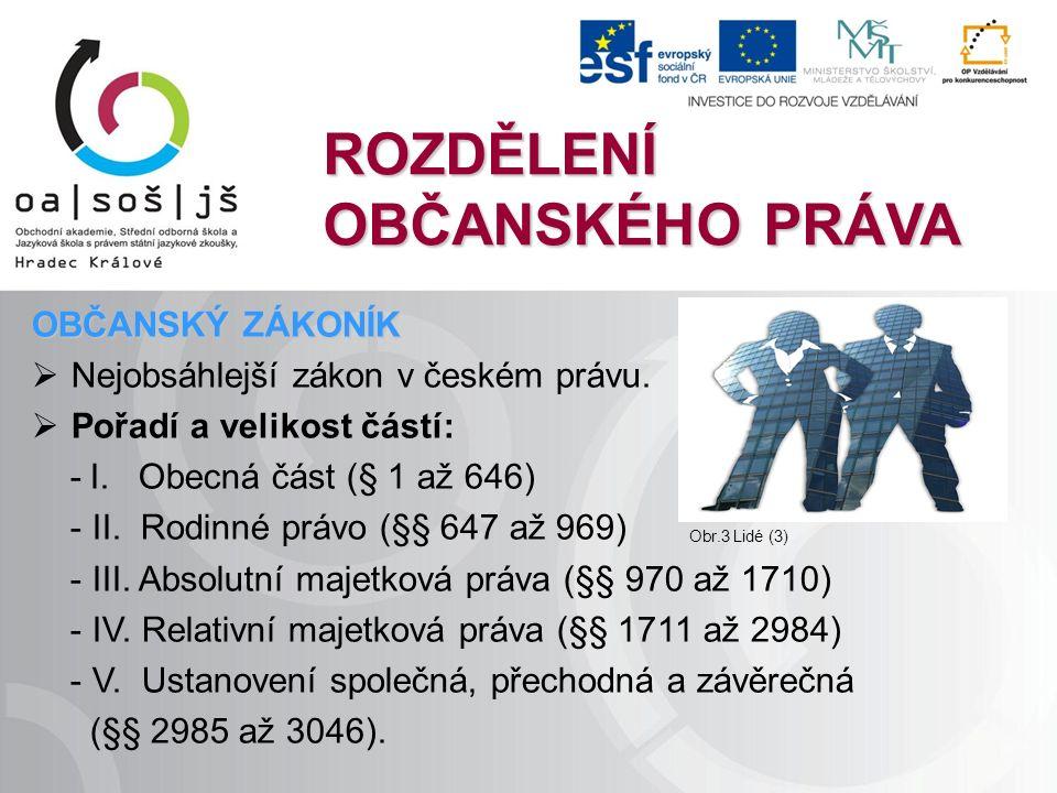 ROZDĚLENÍ OBČANSKÉHO PRÁVA OBČANSKÝ ZÁKONÍK  Nejobsáhlejší zákon v českém právu.