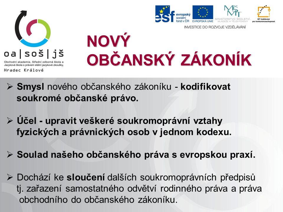 NOVÝ OBČANSKÝ ZÁKONÍK  Smysl nového občanského zákoníku - kodifikovat soukromé občanské právo.