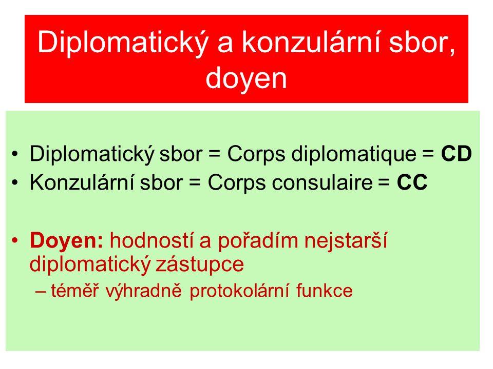 Diplomatický a konzulární sbor, doyen Diplomatický sbor = Corps diplomatique = CD Konzulární sbor = Corps consulaire = CC Doyen: hodností a pořadím nejstarší diplomatický zástupce –téměř výhradně protokolární funkce