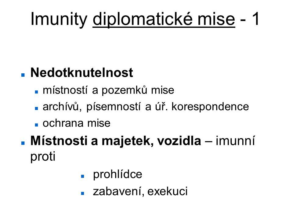 Imunity diplomatické mise - 1 Nedotknutelnost místností a pozemků mise archívů, písemností a úř. korespondence ochrana mise Místnosti a majetek, vozid
