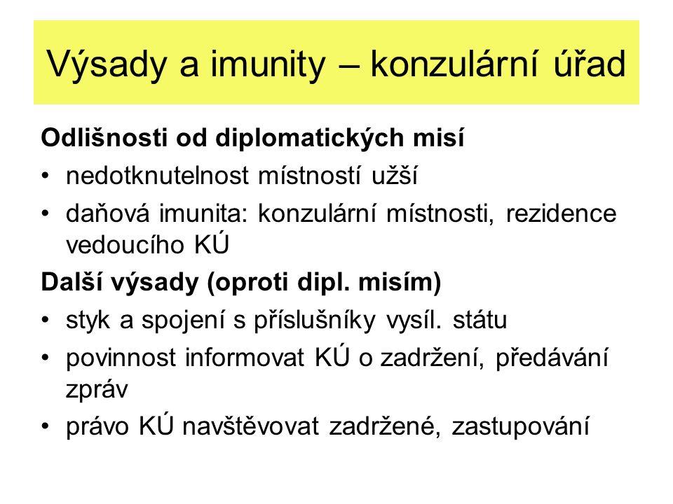 Výsady a imunity – konzulární úřad Odlišnosti od diplomatických misí nedotknutelnost místností užší daňová imunita: konzulární místnosti, rezidence ve