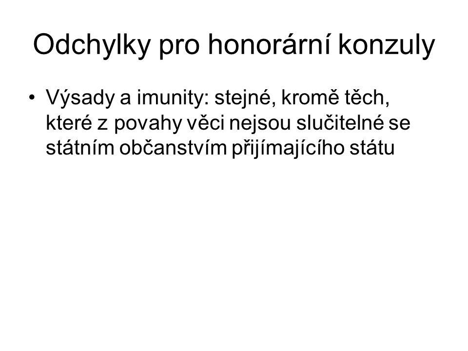 Odchylky pro honorární konzuly Výsady a imunity: stejné, kromě těch, které z povahy věci nejsou slučitelné se státním občanstvím přijímajícího státu
