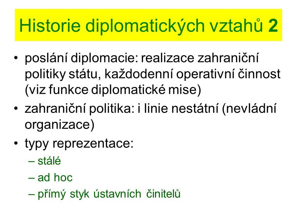 Historie diplomatických vztahů 2 poslání diplomacie: realizace zahraniční politiky státu, každodenní operativní činnost (viz funkce diplomatické mise)