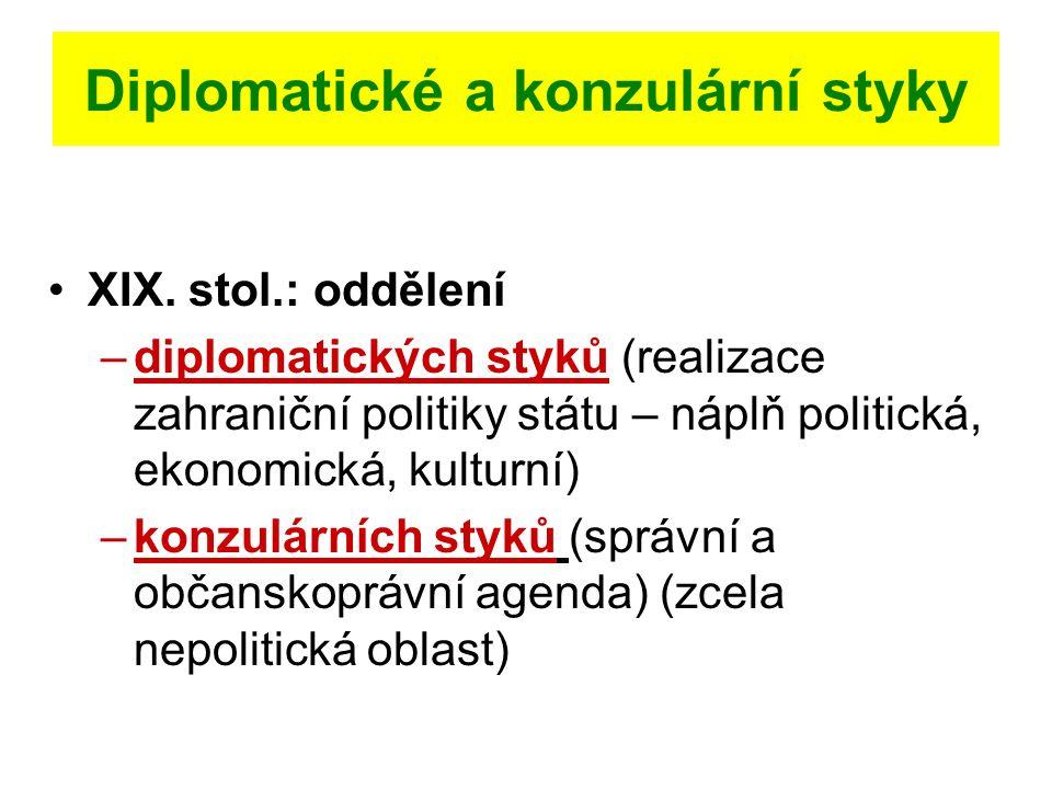 Diplomatické a konzulární styky XIX. stol.: oddělení –diplomatických styků (realizace zahraniční politiky státu – náplň politická, ekonomická, kulturn