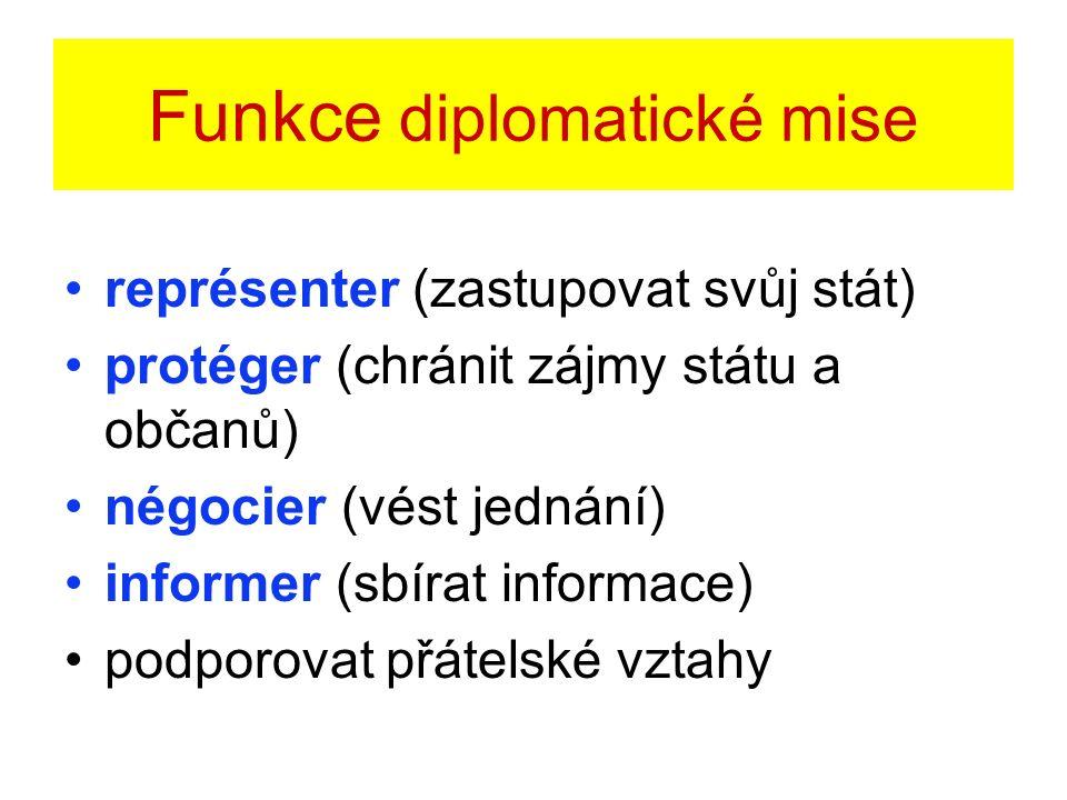 Funkce diplomatické mise représenter (zastupovat svůj stát) protéger (chránit zájmy státu a občanů) négocier (vést jednání) informer (sbírat informace