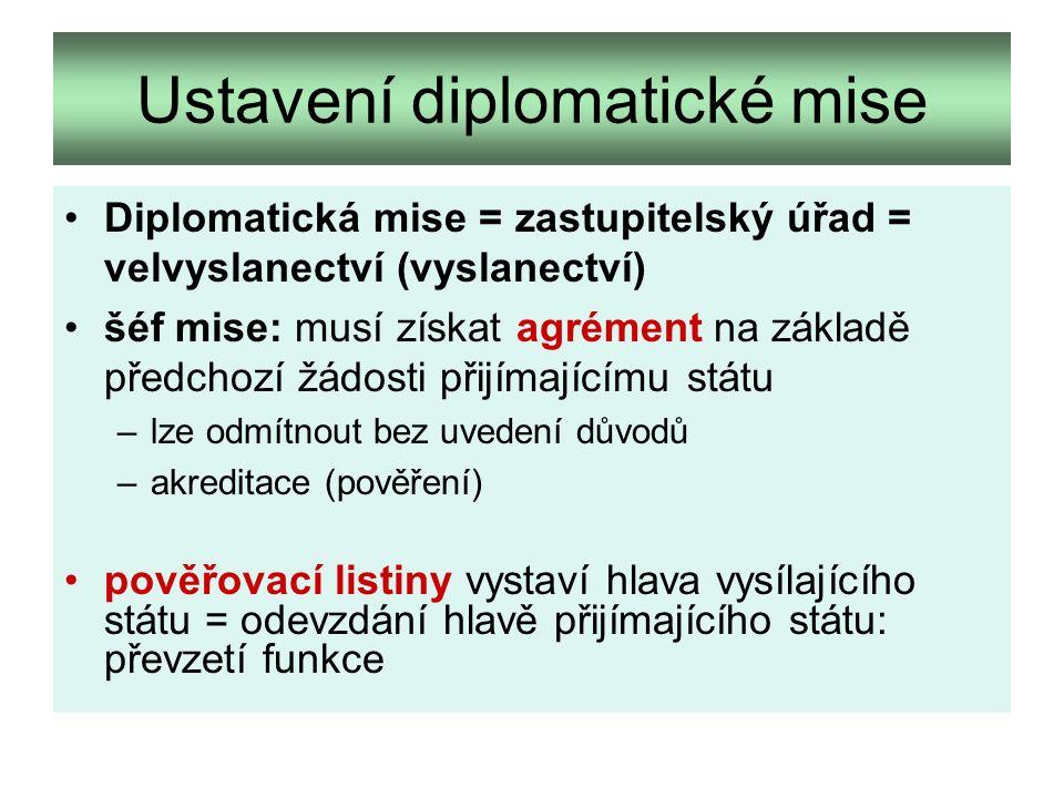 Ustavení diplomatické mise Diplomatická mise = zastupitelský úřad = velvyslanectví (vyslanectví) šéf mise: musí získat agrément na základě předchozí žádosti přijímajícímu státu –lze odmítnout bez uvedení důvodů –akreditace (pověření) pověřovací listiny vystaví hlava vysílajícího státu = odevzdání hlavě přijímajícího státu: převzetí funkce