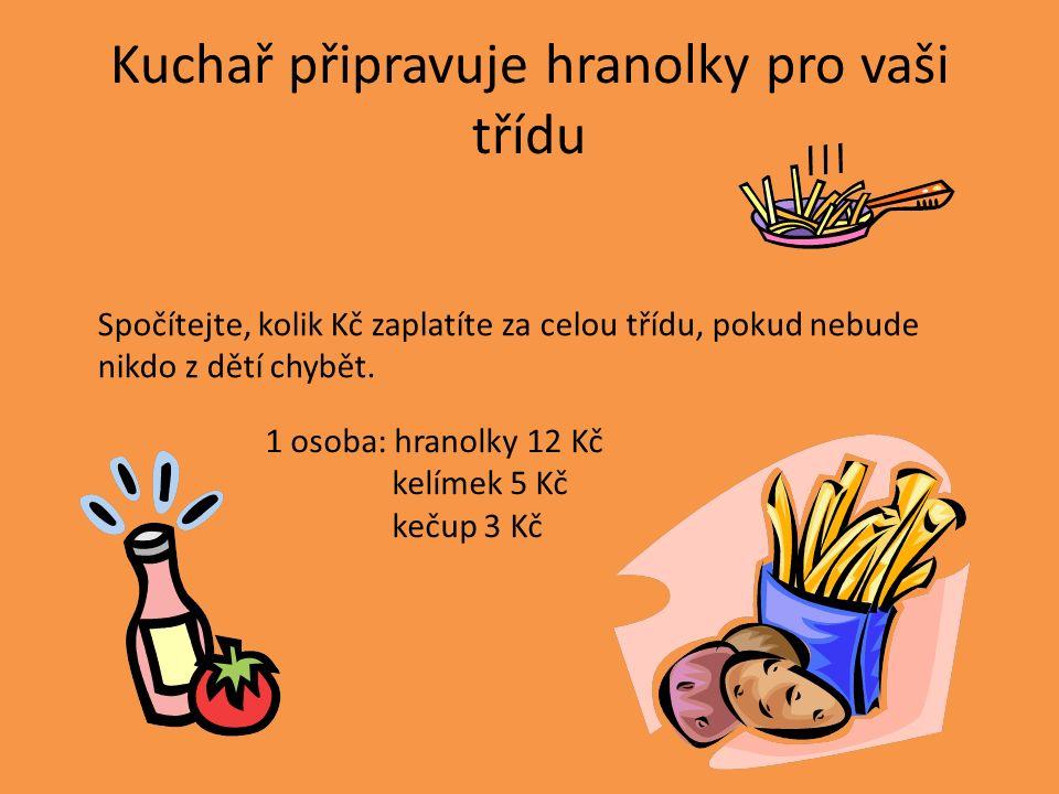 Kuchař připravuje hranolky pro vaši třídu Spočítejte, kolik Kč zaplatíte za celou třídu, pokud nebude nikdo z dětí chybět. 1 osoba: hranolky 12 Kč kel
