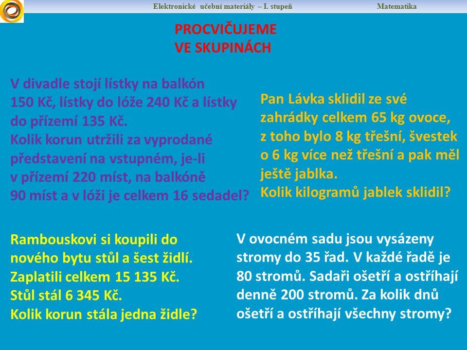 Elektronické učební materiály – I. stupeň Matematika PROCVIČUJEME VE SKUPINÁCH V divadle stojí lístky na balkón 150 Kč, lístky do lóže 240 Kč a lístky