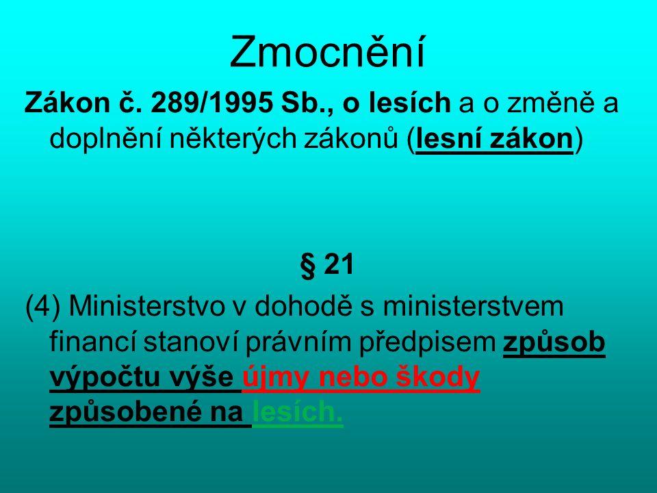 Zmocnění Zákon č. 289/1995 Sb., o lesích a o změně a doplnění některých zákonů (lesní zákon) § 21 (4) Ministerstvo v dohodě s ministerstvem financí st
