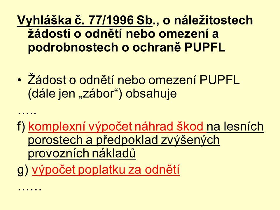 """Vyhláška č. 77/1996 Sb., o náležitostech žádosti o odnětí nebo omezení a podrobnostech o ochraně PUPFL Žádost o odnětí nebo omezení PUPFL (dále jen """"z"""