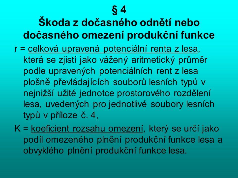 § 4 Škoda z dočasného odnětí nebo dočasného omezení produkční funkce r = celková upravená potenciální renta z lesa, která se zjistí jako vážený aritme