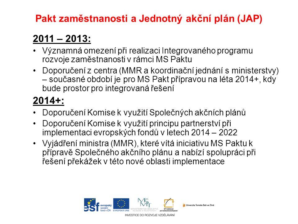 Pakt zaměstnanosti a Jednotný akční plán (JAP) 2011 – 2013: Významná omezení při realizaci Integrovaného programu rozvoje zaměstnanosti v rámci MS Paktu Doporučení z centra (MMR a koordinační jednání s ministerstvy) – současné období je pro MS Pakt přípravou na léta 2014+, kdy bude prostor pro integrovaná řešení 2014+: Doporučení Komise k využití Společných akčních plánů Doporučení Komise k využití principu partnerství při implementaci evropských fondů v letech 2014 – 2022 Vyjádření ministra (MMR), které vítá iniciativu MS Paktu k přípravě Společného akčního plánu a nabízí spolupráci při řešení překážek v této nové oblasti implementace