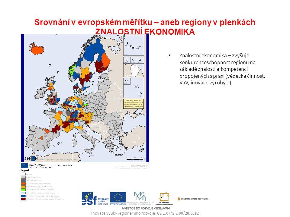 Srovnání v evropském měřítku – aneb regiony v plenkách ZNALOSTNÍ EKONOMIKA Znalostní ekonomika – zvyšuje konkurenceschopnost regionu na základě znalostí a kompetencí propojených s praxí (vědecká činnost, VaV, inovace výroby…) Inovace výuky regionálního rozvoje, CZ.1.07/2.2.00/28.0012