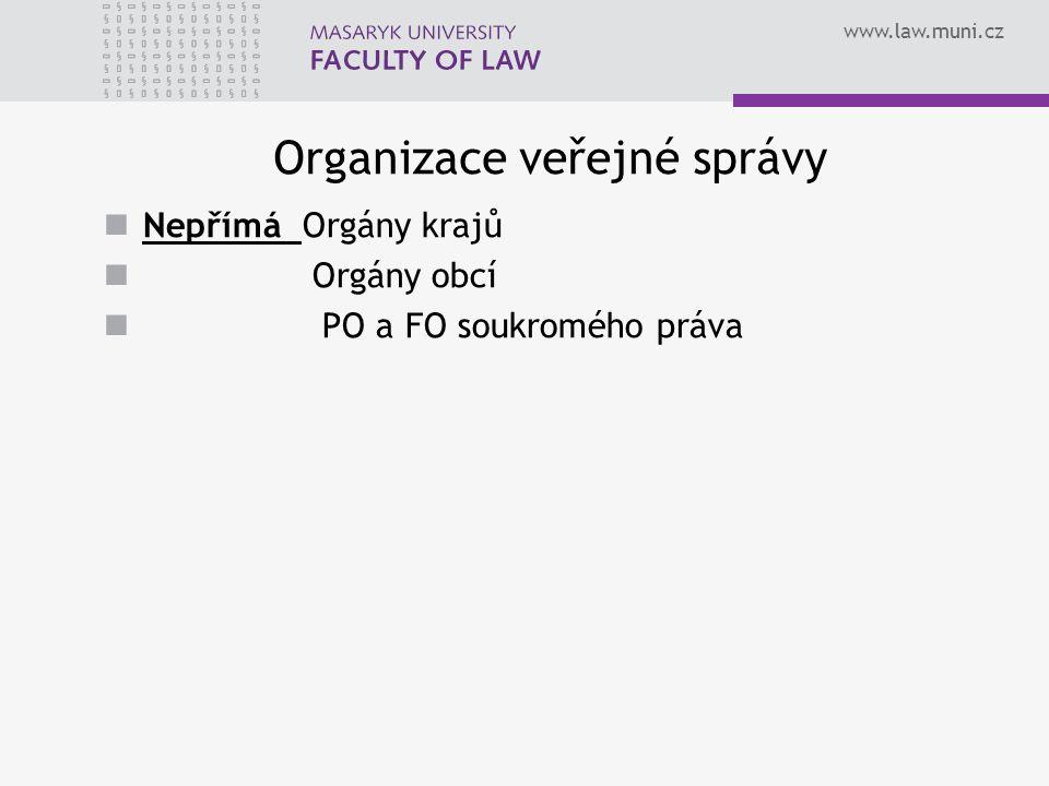 www.law.muni.cz Organizace veřejné správy Nepřímá Orgány krajů Orgány obcí PO a FO soukromého práva