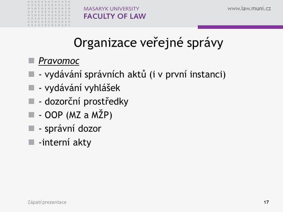www.law.muni.cz Organizace veřejné správy Pravomoc - vydávání správních aktů (i v první instanci) - vydávání vyhlášek - dozorční prostředky - OOP (MZ a MŽP) - správní dozor -interní akty Zápatí prezentace17