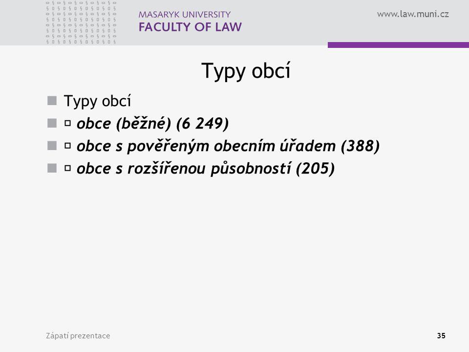 www.law.muni.cz Typy obcí obce (běžné) (6 249) obce s pověřeným obecním úřadem (388) obce s rozšířenou působností (205) Zápatí prezentace35