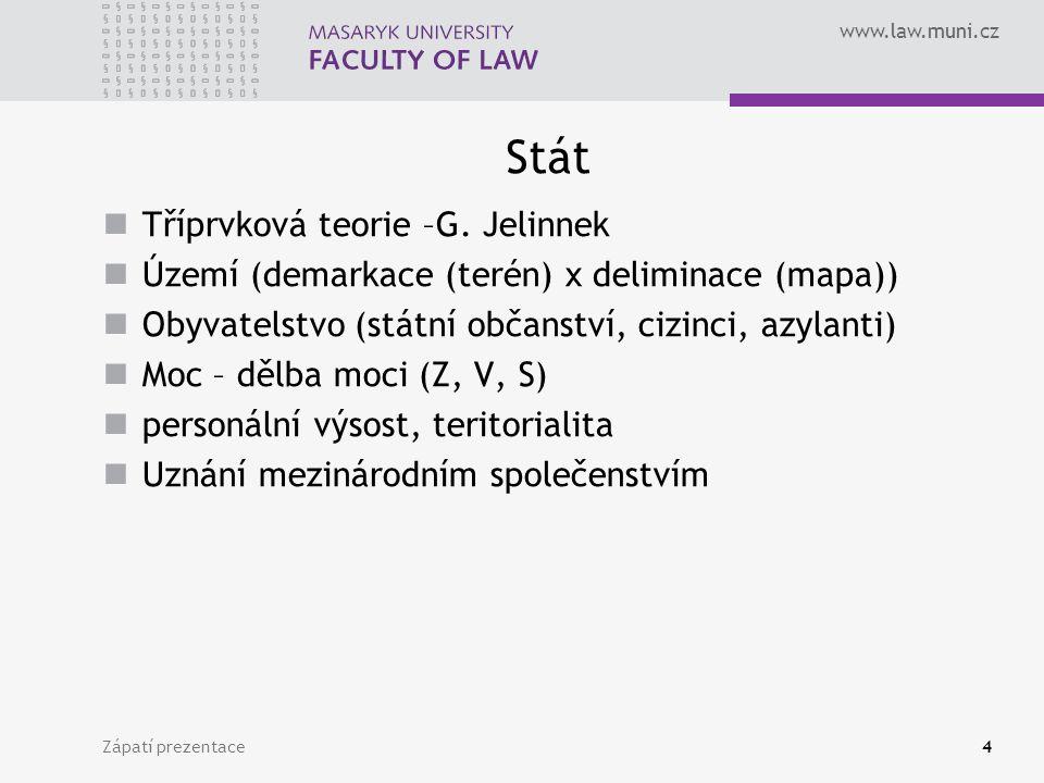 www.law.muni.cz Stát Tříprvková teorie –G.
