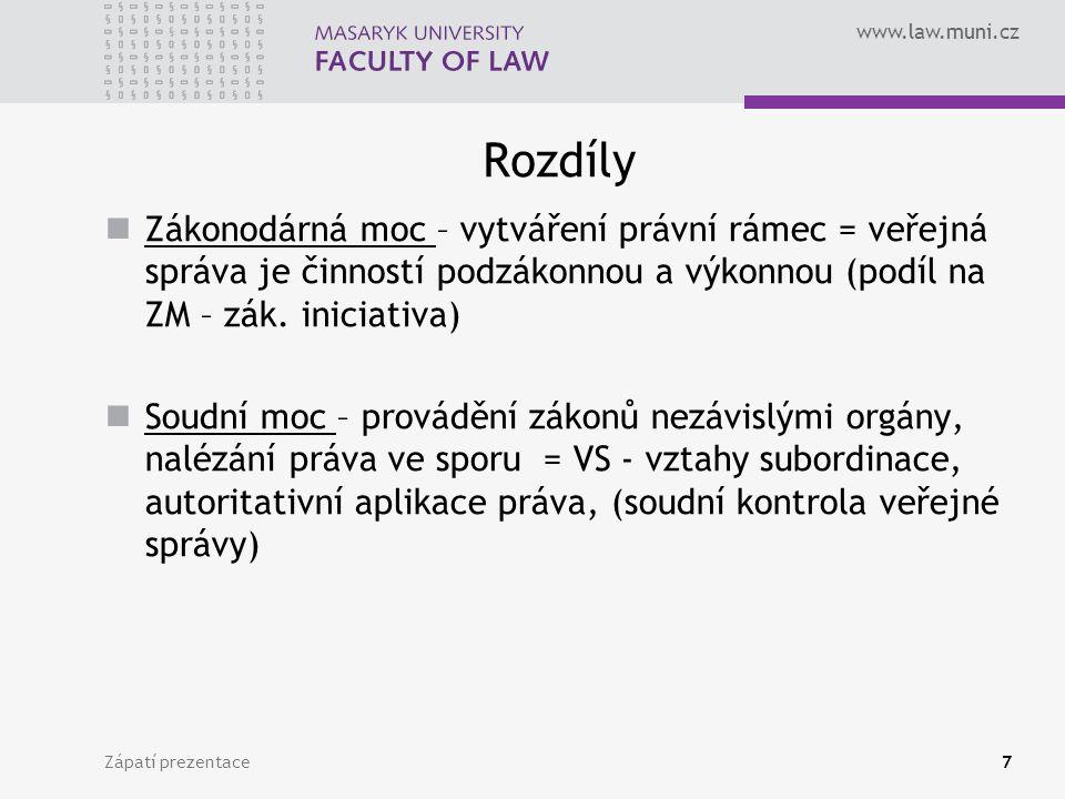 www.law.muni.cz Rozdíly Zákonodárná moc – vytváření právní rámec = veřejná správa je činností podzákonnou a výkonnou (podíl na ZM – zák.