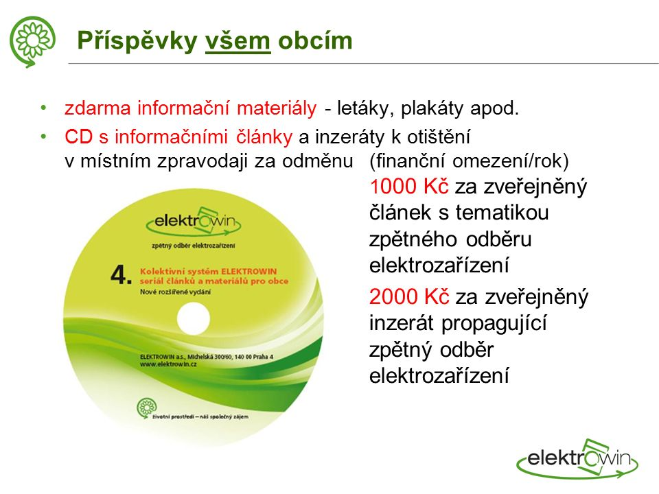 Příspěvky všem obcím zdarma informační materiály - letáky, plakáty apod.