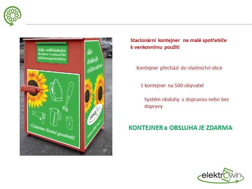 Stacionární kontejner na malé spotřebiče k venkovnímu použití Kontejner přechází do vlastnictví obce 1 kontejner na 500 obyvatel Systém obsluhy s dopravou nebo bez dopravy KONTEJNER a OBSLUHA JE ZDARMA