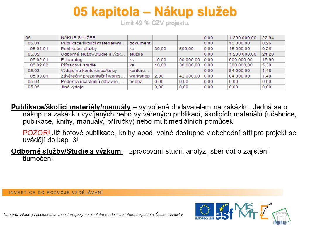 12 05 kapitola – Nákup služeb Limit 49 % CZV projektu.